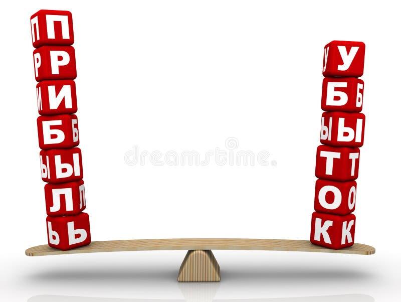 在等级的词损失和赢利 翻译文本:'损失,赢利' 向量例证
