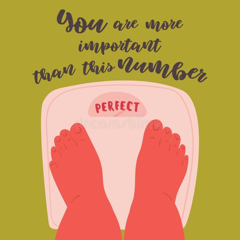 在等级的身体正面脚与完善的重量 库存例证