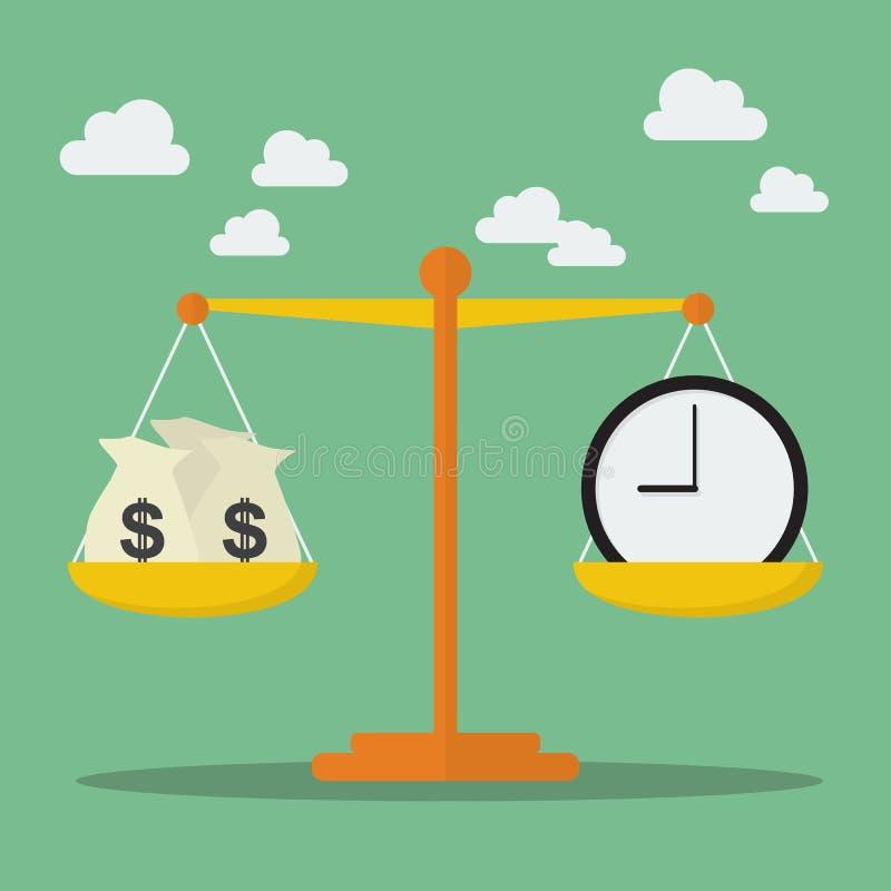 在等级的金钱和时间平衡 库存例证