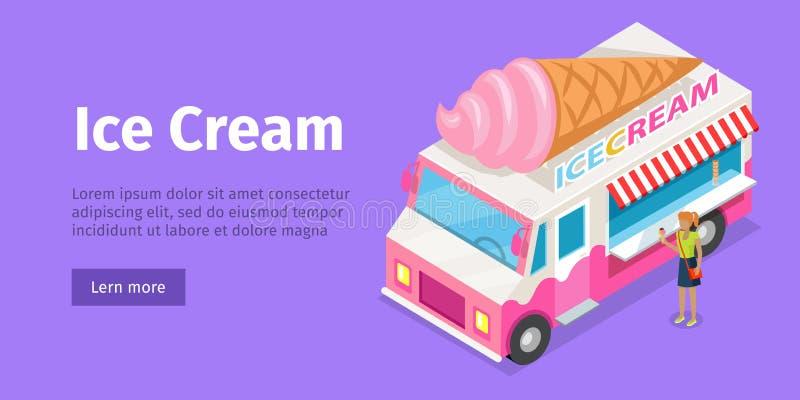 在等角投影的冰淇凌卡车 向量 皇族释放例证