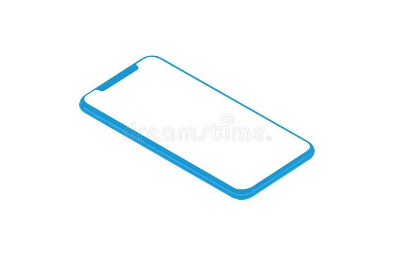 在等量位置隔绝的蓝色平的智能手机概念 图库摄影