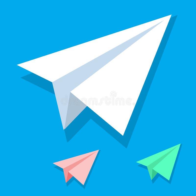 在等量平的样式设置的手工制造白皮书平面传染媒介象隔绝在蓝色背景 Origami白色桔子和 皇族释放例证