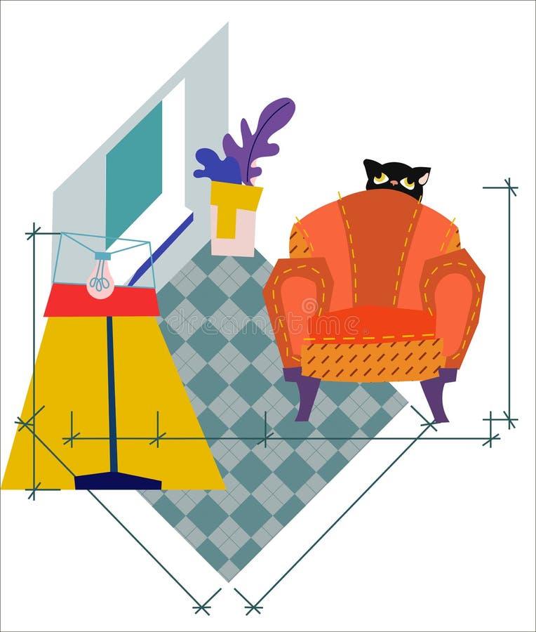 在等量样式的客厅内部 与家具的议院设计 库存例证