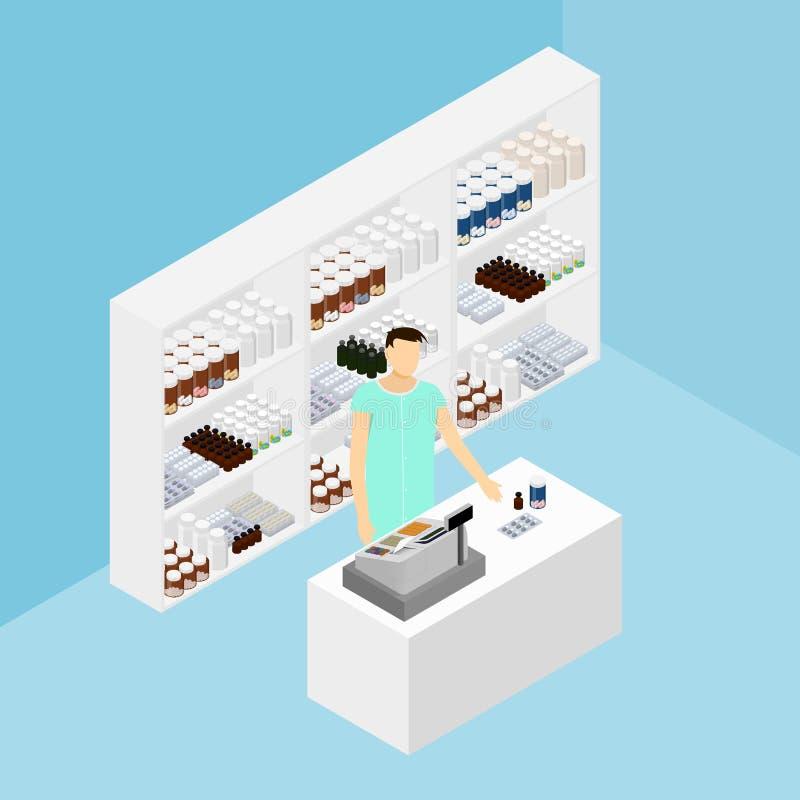 在等量的药房 药店 药剂师 向量例证