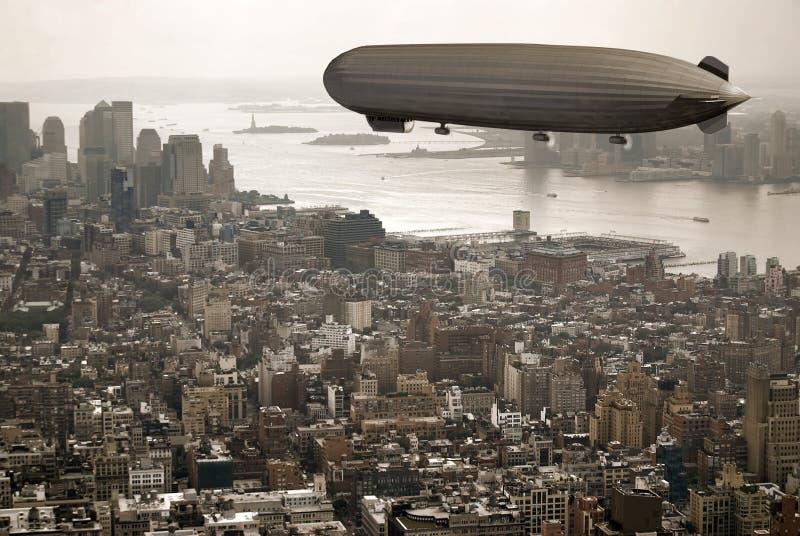 在策帕林飞艇的曼哈顿 库存例证
