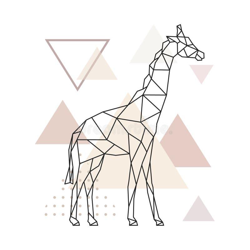 在简单的三角背景的几何长颈鹿 库存例证