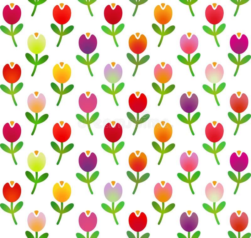 在简单的动画片样式的无缝的样式与杂色的郁金香 也corel凹道例证向量 向量例证