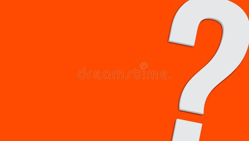在简单的最小的明亮的橙色干净的背景3D的问号标志隔绝的最低纲领派白色灰色颜色 向量例证