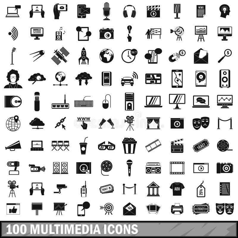 在简单的样式设置的100个多媒体象 皇族释放例证