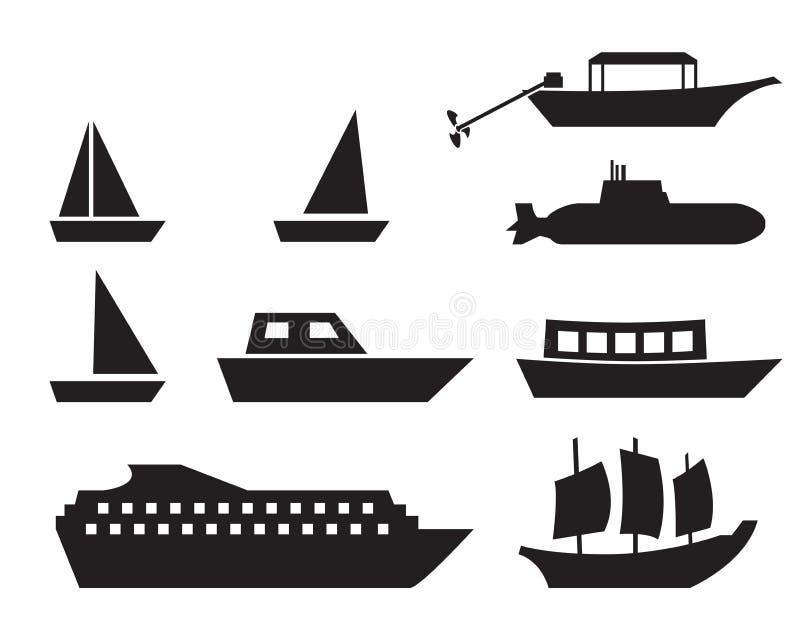 在简单的样式,传染媒介的船和小船象 向量例证