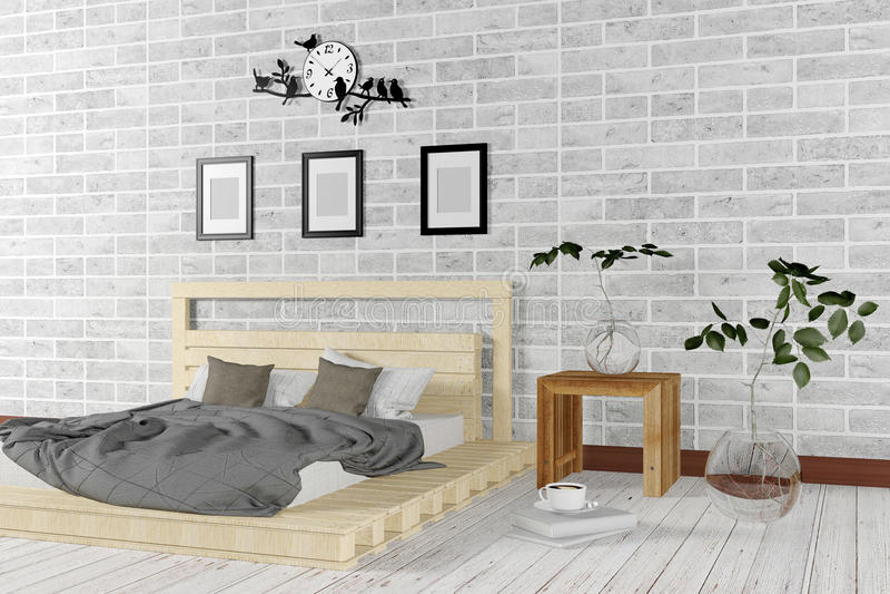 在简单的生存概念的白色最小和顶楼样式卧室内部 皇族释放例证