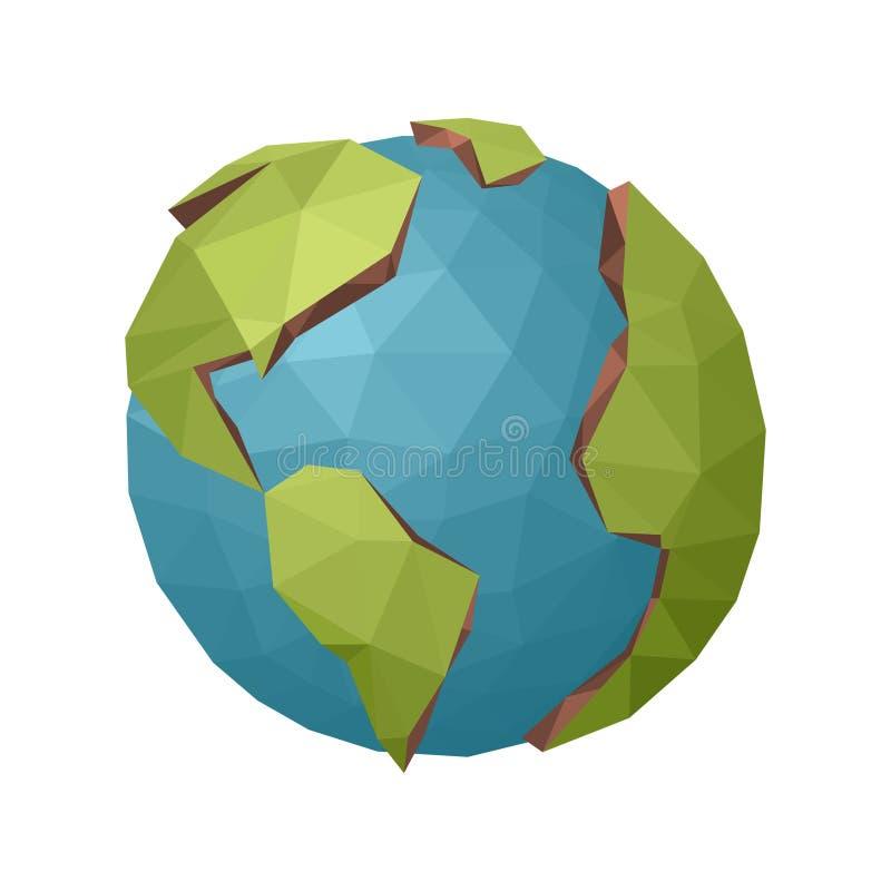 在简单的背景的低多地球行星 向量例证