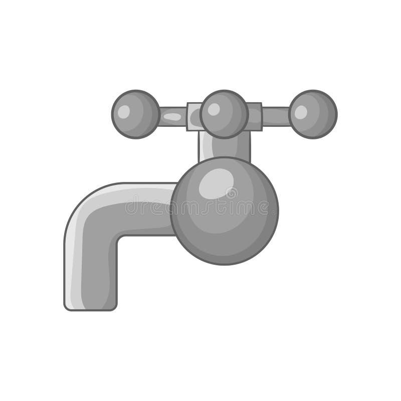 在管子象,黑单色样式的阀门 库存例证