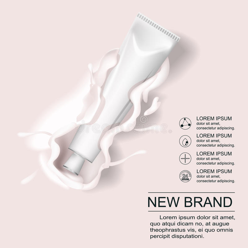 在管广告包含的化妆奶油 构成皮肤与氢结合的乳化液奶油管白色和金子颜色在乳白色 库存例证