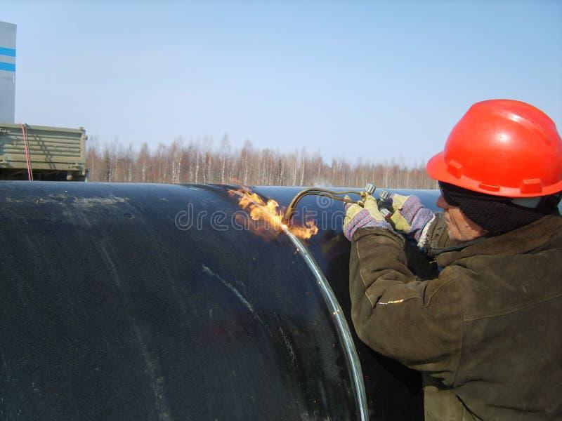 在管道的焊接的缝 免版税库存图片