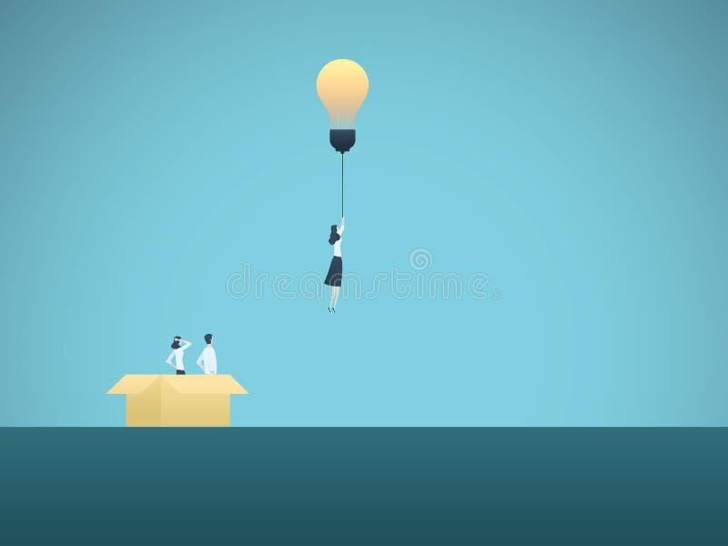 在箱子企业传染媒介概念之外认为 与电灯泡的女实业家飞行 创造性,智力的标志 库存例证