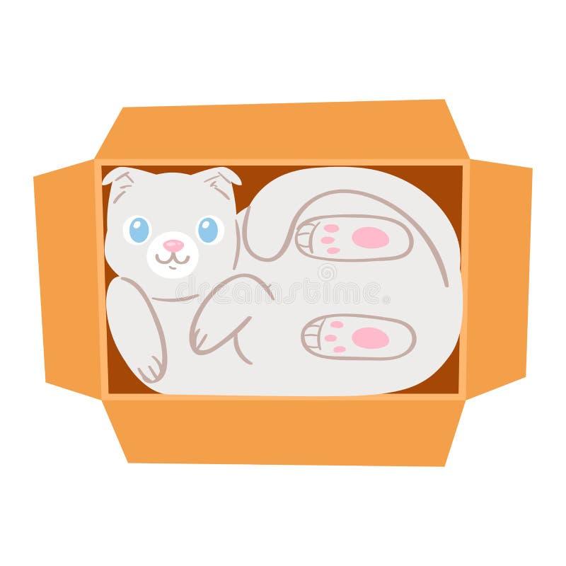 在箱子传染媒介全部赌注宠物字符家畜小猫的猫在hidding装箱的礼物例证似猫的套猫咪 皇族释放例证