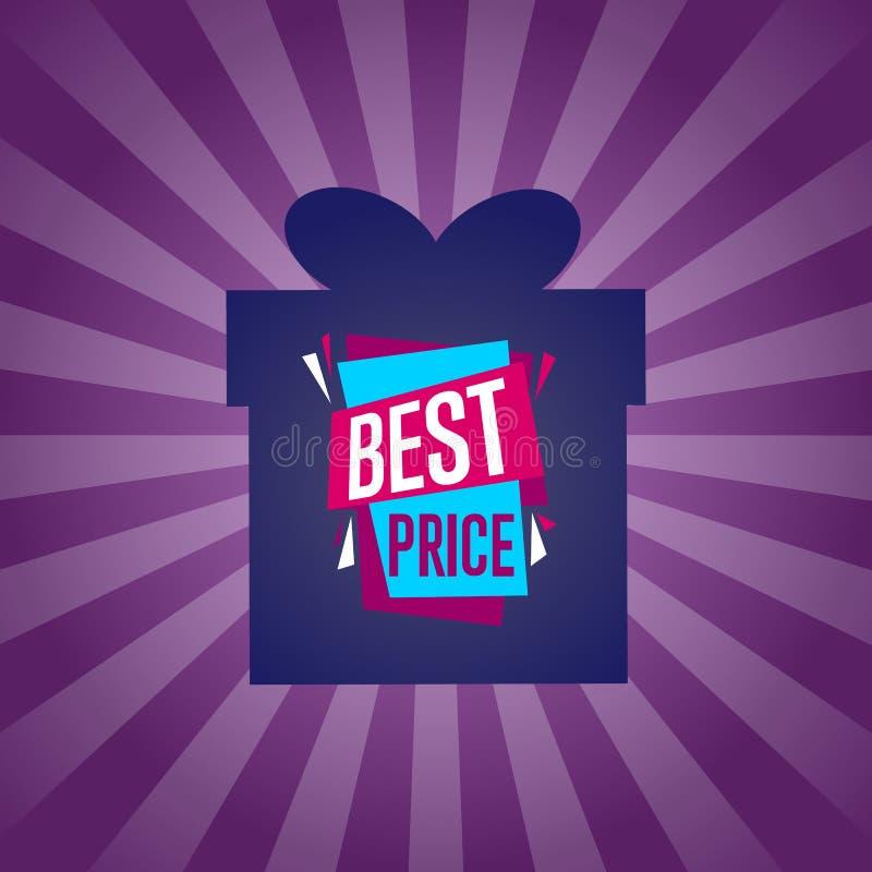在箱子剪影的最佳的价格贴纸 库存例证
