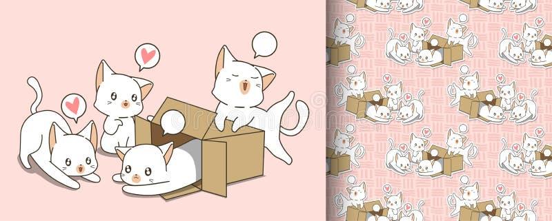 在箱子和朋友样式的无缝的矮小的白色猫 皇族释放例证
