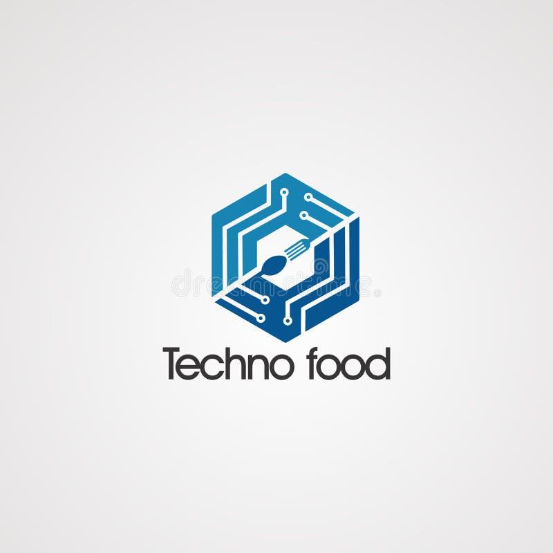 在箱子商标传染媒介概念、象、元素和模板的Techno食物公司的 向量例证
