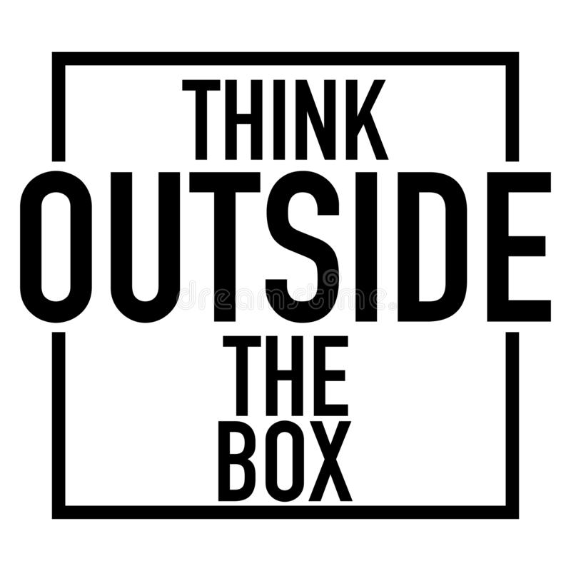 在箱子商标白色背景之外认为 库存例证