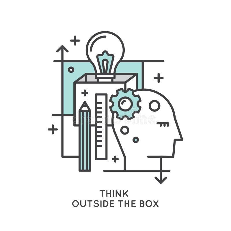 在箱子概念、想象力、聪明的解答、创造性和突发的灵感之外认为 库存例证