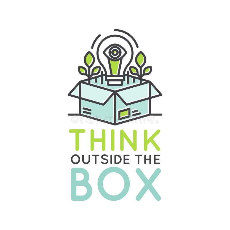 在箱子概念、想象力,聪明的解答、创造性和激发灵感合作之外认为 向量例证