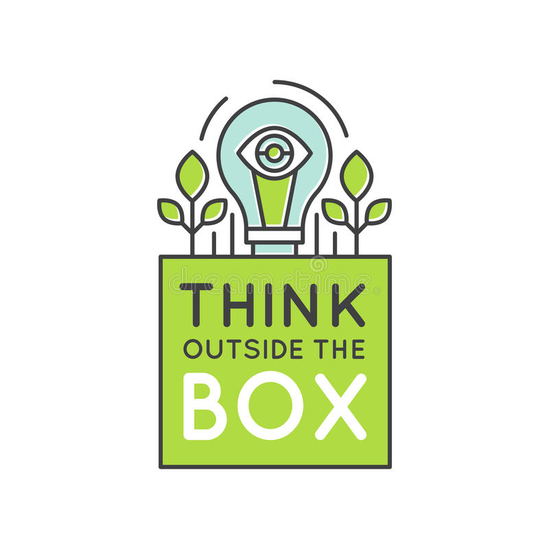 在箱子概念、想象力,聪明的解答、创造性和激发灵感合作之外认为 库存例证