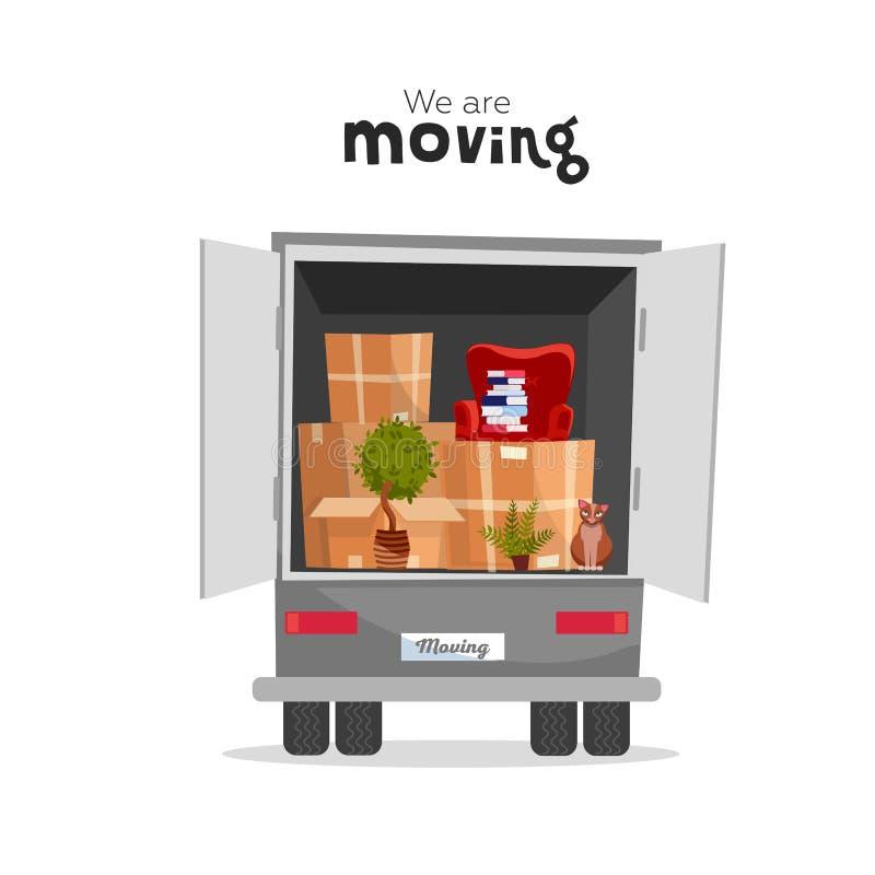 在箱子的事在卡车的开放树干 ?? 移动的传讯者搬运车 卸载的或装载的卡车 我们移动在家 向量例证