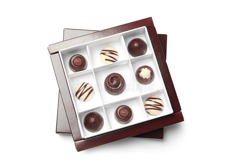 在箱子的可口巧克力糖 免版税库存图片