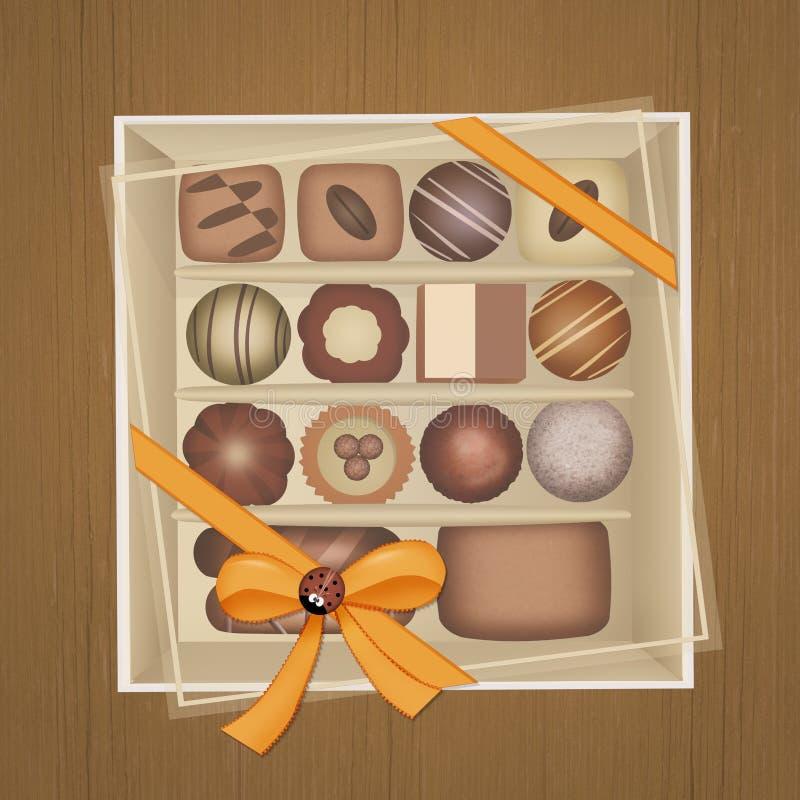 在箱子的巧克力 库存例证