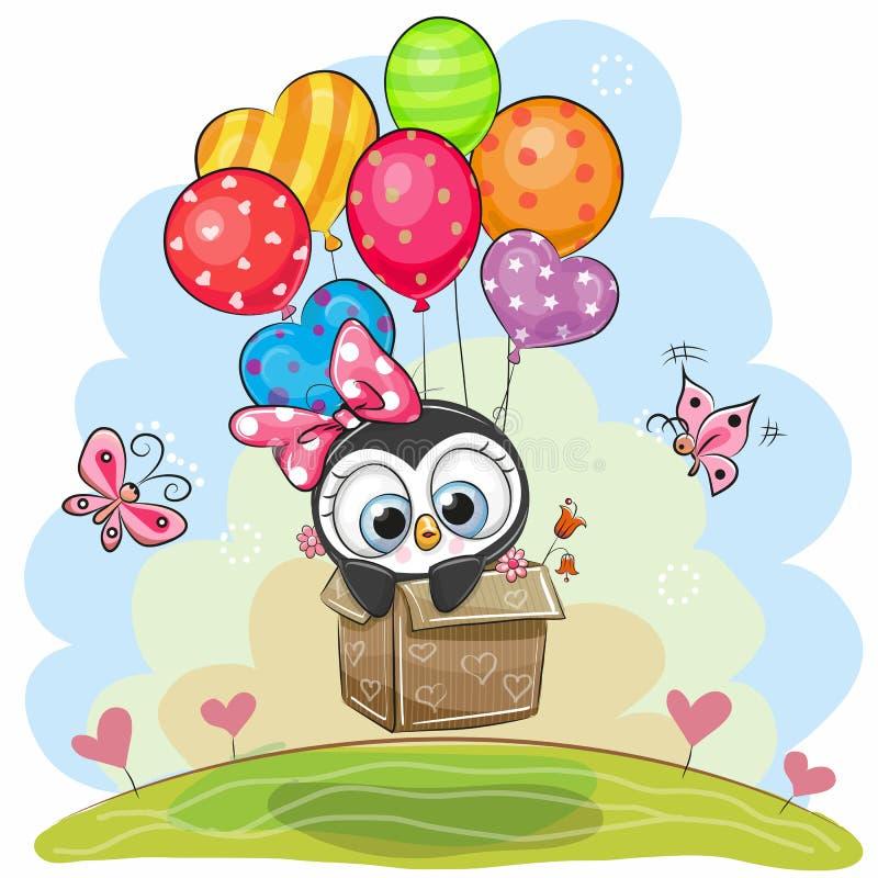 在箱子的逗人喜爱的企鹅在气球飞行 向量例证