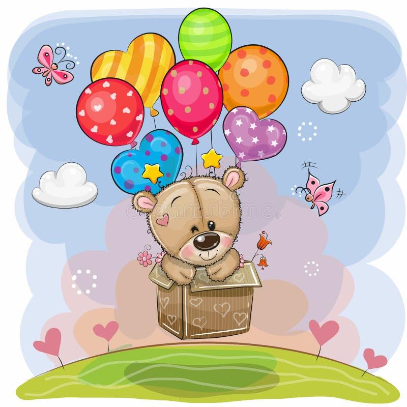 在箱子的逗人喜爱的玩具熊在气球飞行 向量例证