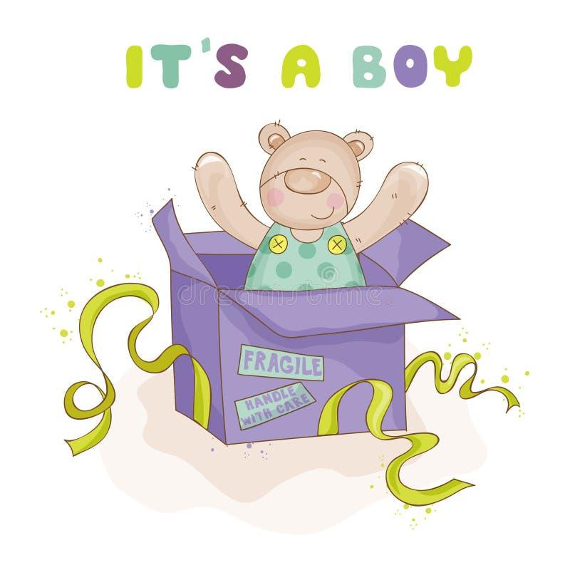 在箱子的婴孩熊-婴孩卡片 皇族释放例证
