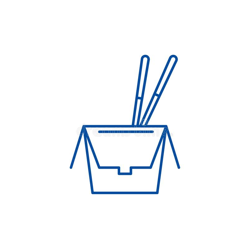 在箱子线象概念的面条 在箱子平的传染媒介标志,标志,概述例证的面条 库存例证