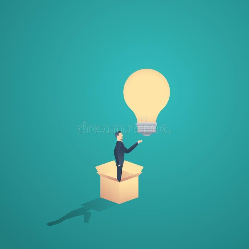 在箱子诱导企业概念传染媒介之外认为 与站立在a和电灯泡的人的创造性标志 皇族释放例证