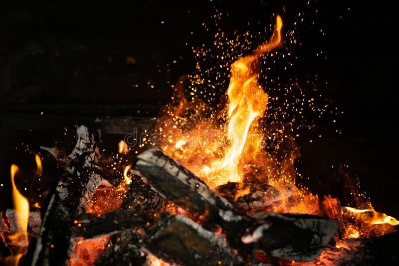 在篝火火炉的火火焰 库存图片