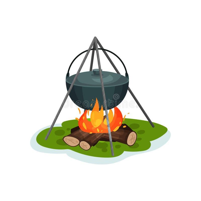 在篝火,烹调在白色背景的可口鱼汤的野营的罐传染媒介例证 向量例证