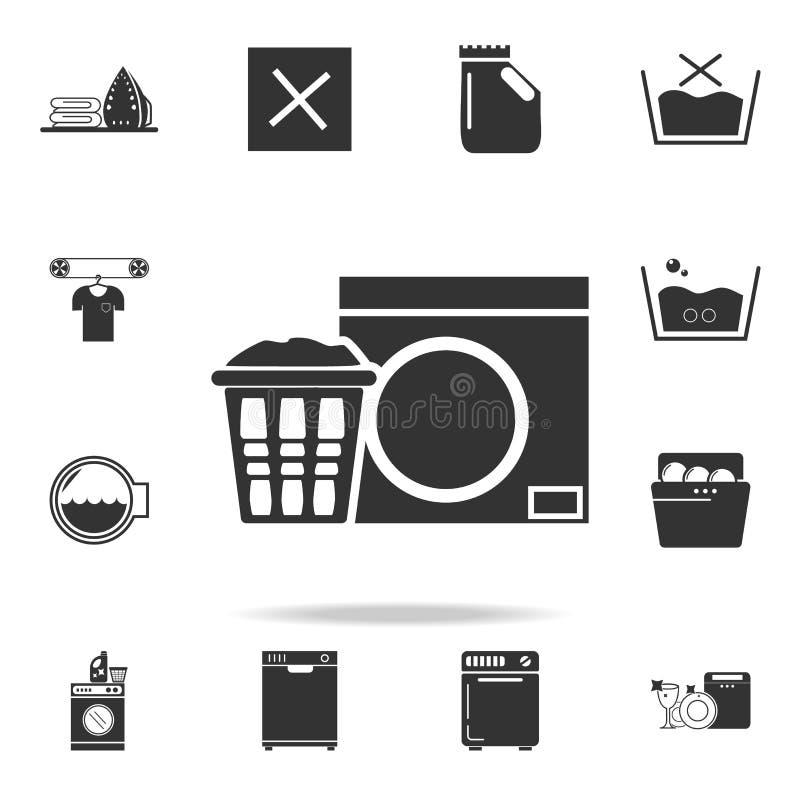 在篮子和洗衣机象的亚麻布 详细的套洗衣店象 优质质量图形设计 一汇集 向量例证