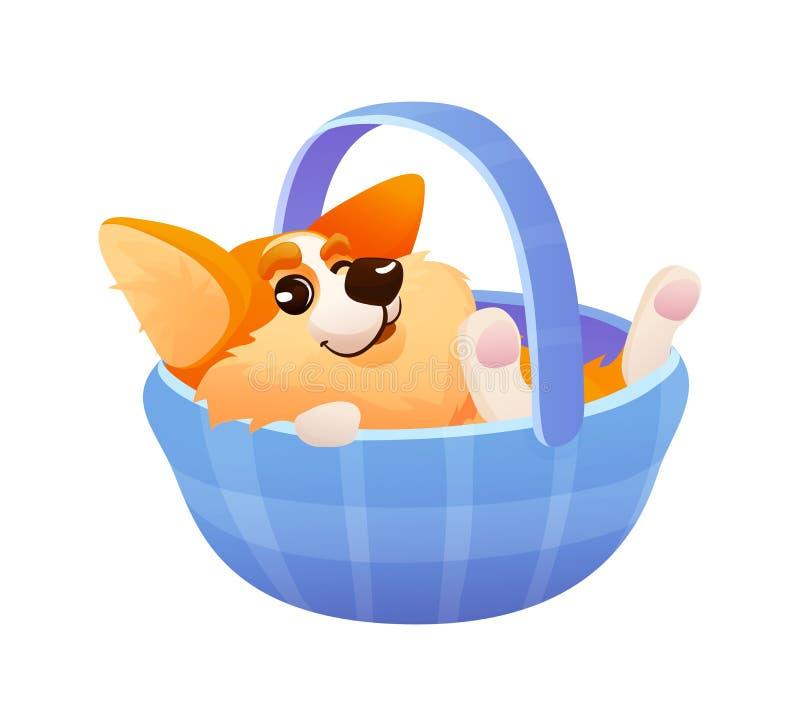 在篮子的情感逗人喜爱的小狗狗 向量例证