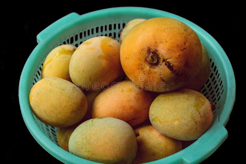 在篮子的成熟芒果 免版税库存照片