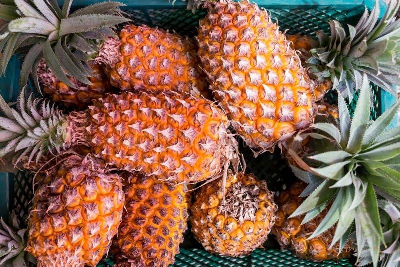 在篮子的新鲜的菠萝 免版税库存图片