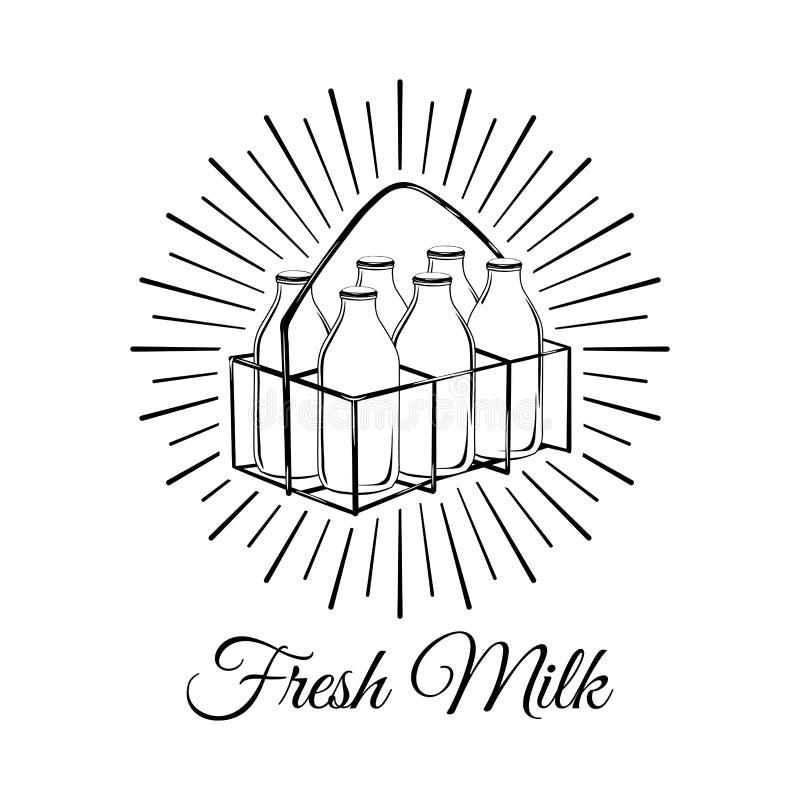 在篮子的牛奶瓶在白色背景 也corel凹道例证向量 皇族释放例证