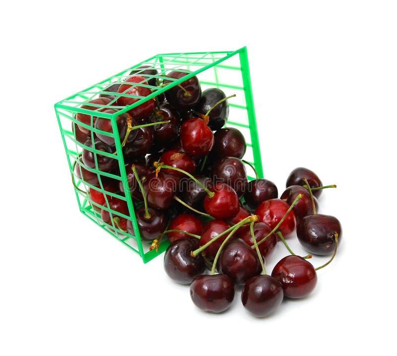 在篮子的甜樱桃 库存图片