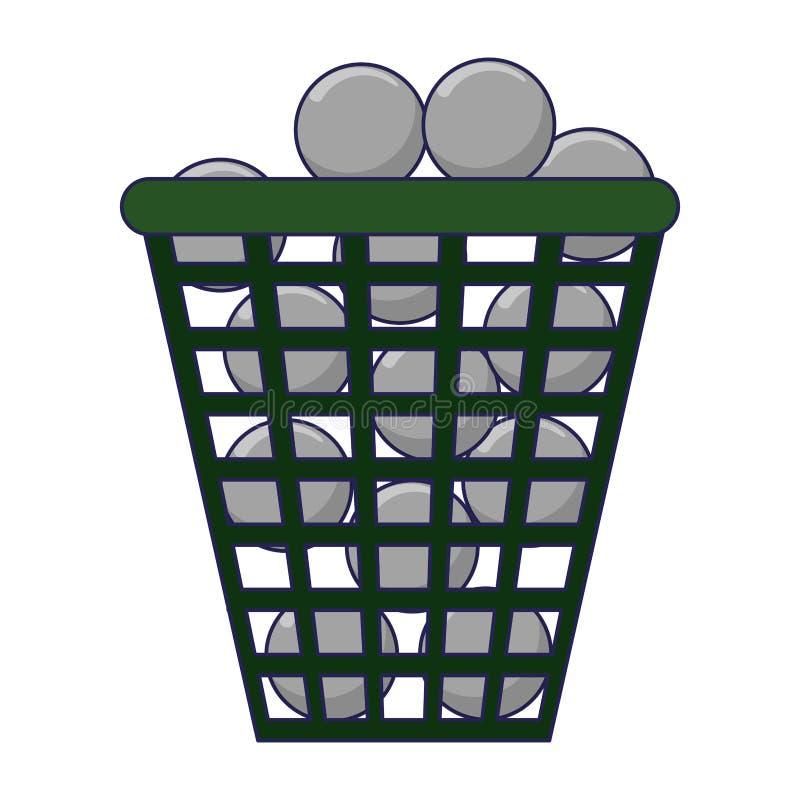 在篮子的高尔夫球 向量例证