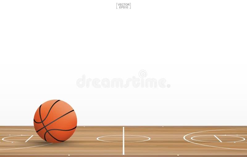 在篮球场的篮球球与木地板样式和纹理 库存例证