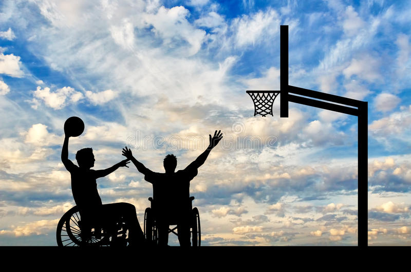 在篮球的残疾paralympians戏剧 图库摄影