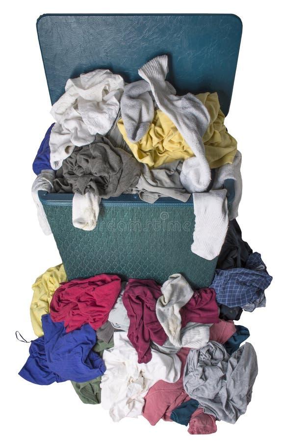 在篮的肮脏的洗衣店 免版税库存图片