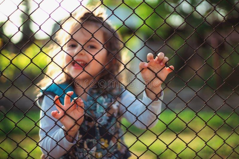 在篱芭后的小女孩 免版税图库摄影