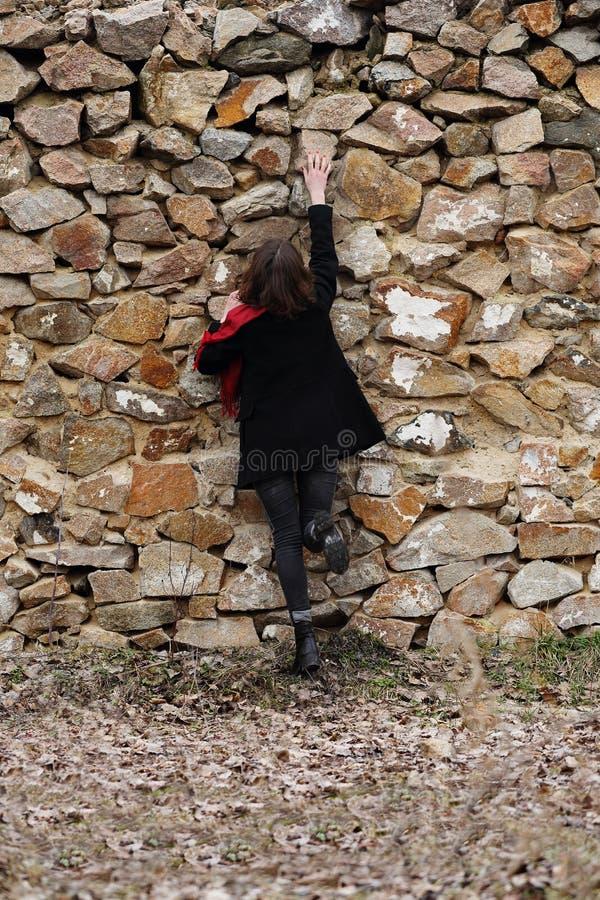 在篱芭的妇女攀登 库存图片